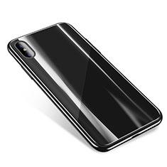 Coque Contour Silicone et Vitre Transparente Miroir Housse Etui pour Apple iPhone Xs Noir