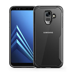 Coque Contour Silicone et Vitre Transparente Miroir Housse Etui pour Samsung Galaxy A6 (2018) Dual SIM Noir