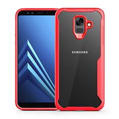 Coque Contour Silicone et Vitre Transparente Miroir Housse Etui pour Samsung Galaxy A6 (2018) Dual SIM Rouge