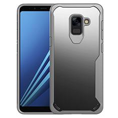Coque Contour Silicone et Vitre Transparente Miroir Housse Etui pour Samsung Galaxy A8+ A8 Plus (2018) A730F Gris
