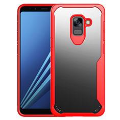 Coque Contour Silicone et Vitre Transparente Miroir Housse Etui pour Samsung Galaxy A8+ A8 Plus (2018) A730F Rouge