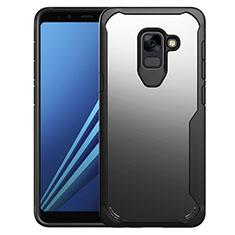 Coque Contour Silicone et Vitre Transparente Miroir Housse Etui pour Samsung Galaxy A8+ A8 Plus (2018) Duos A730F Noir