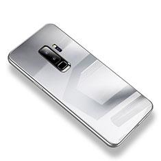 Coque Contour Silicone et Vitre Transparente Miroir Housse Etui S01 pour Samsung Galaxy S9 Plus Argent