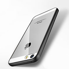 Coque Contour Silicone et Vitre Transparente Miroir pour Apple iPhone 5 Noir