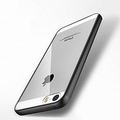 Coque Contour Silicone et Vitre Transparente Miroir pour Apple iPhone 5S Noir