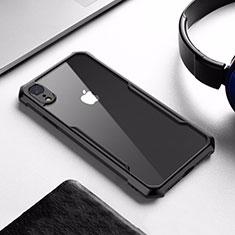 Coque Contour Silicone et Vitre Transparente Miroir pour Apple iPhone XR Noir