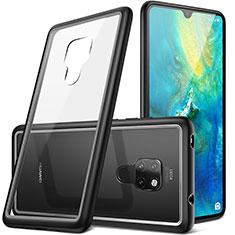 Coque Contour Silicone et Vitre Transparente Miroir pour Huawei Mate 20 Noir