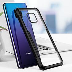 Coque Contour Silicone et Vitre Transparente Miroir pour Huawei Mate 20 Pro Noir