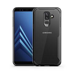 Coque Contour Silicone et Vitre Transparente Miroir pour Samsung Galaxy A6 Plus Noir