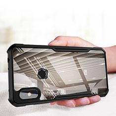 Coque Contour Silicone et Vitre Transparente Miroir pour Xiaomi Redmi Note 6 Pro Noir