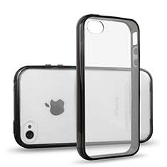 Coque Contour Silicone et Vitre Transparente pour Apple iPhone 4 Noir