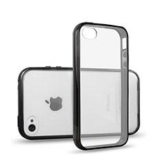Coque Contour Silicone et Vitre Transparente pour Apple iPhone 4S Noir