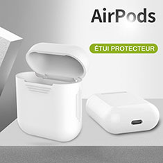 Coque de Protection en Silicone avec Mousqueton pour Boitier de Charge de Airpods A03 Blanc