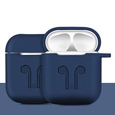 Coque de Protection en Silicone avec Mousqueton pour Boitier de Charge de Airpods A04 Bleu