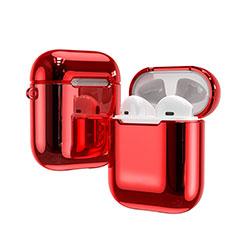 Coque de Protection en Silicone avec Mousqueton pour Boitier de Charge de Airpods C03 Rouge