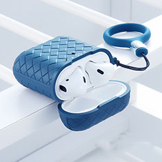Coque de Protection en Silicone avec Mousqueton pour Boitier de Charge de Airpods C04 Bleu