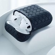 Coque de Protection en Silicone avec Mousqueton pour Boitier de Charge de Airpods C04 Noir