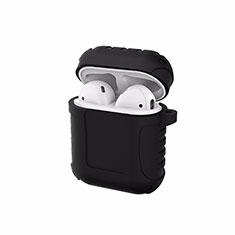 Coque de Protection en Silicone avec Mousqueton pour Boitier de Charge de Airpods C06 Noir