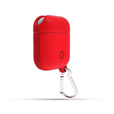 Coque de Protection en Silicone avec Mousqueton pour Boitier de Charge de Airpods C08 Rouge