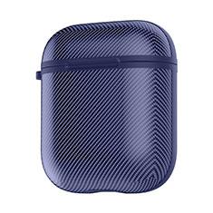 Coque de Protection en Silicone avec Mousqueton pour Boitier de Charge de Airpods C09 Bleu