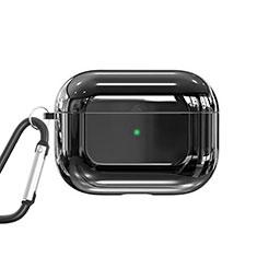 Coque de Protection en Silicone avec Mousqueton pour Boitier de Charge de AirPods Pro C01 Noir