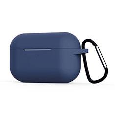 Coque de Protection en Silicone avec Mousqueton pour Boitier de Charge de AirPods Pro C02 Bleu Royal