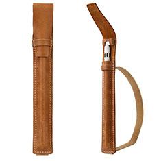 Coque en Cuir Protection Sac Pochette Elastique Douille de Poche Detachable P02 pour Apple Pencil Apple New iPad 9.7 (2018) Marron