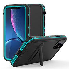 Coque Etanche Contour Silicone et Plastique Housse Etui Waterproof 360 Degres avec Support pour Apple iPhone 11 Cyan