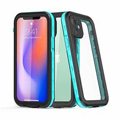 Coque Etanche Contour Silicone et Plastique Housse Etui Waterproof 360 Degres pour Apple iPhone 12 Cyan