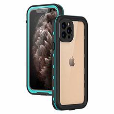 Coque Etanche Contour Silicone et Plastique Housse Etui Waterproof 360 Degres pour Apple iPhone 12 Pro Cyan