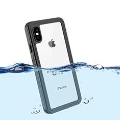 Coque Etanche Contour Silicone et Plastique Housse Etui Waterproof 360 Degres pour Apple iPhone X Noir