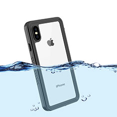 Coque Etanche Contour Silicone et Plastique Housse Etui Waterproof 360 Degres pour Apple iPhone Xs Noir