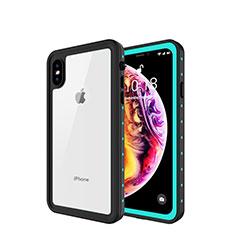 Coque Etanche Contour Silicone et Plastique Housse Etui Waterproof 360 Degres W01 pour Apple iPhone Xs Cyan