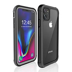 Coque Etanche Contour Silicone et Plastique Housse Etui Waterproof 360 Degres W02 pour Apple iPhone 11 Noir