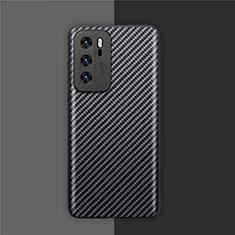 Coque Fibre de Carbone Housse Etui Luxe Serge pour Huawei P40 Noir