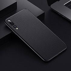 Coque Fibre de Carbone Housse Etui Luxe Serge T02 pour Huawei P20 Pro Noir