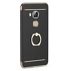 Coque Luxe Aluminum Metal et Support Bague Anneau pour Huawei G7 Plus Noir