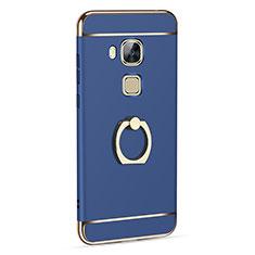 Coque Luxe Aluminum Metal et Support Bague Anneau pour Huawei G8 Bleu
