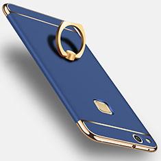 Coque Luxe Aluminum Metal et Support Bague Anneau pour Huawei P10 Lite Bleu