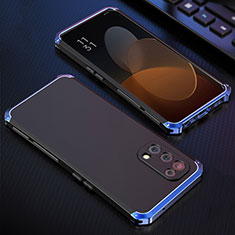 Coque Luxe Aluminum Metal Housse Etui 360 Degres pour Oppo Reno5 5G Bleu et Noir