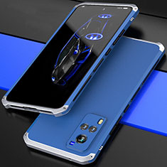 Coque Luxe Aluminum Metal Housse Etui 360 Degres pour Vivo X60 5G Argent et Bleu