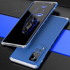 Coque Luxe Aluminum Metal Housse Etui 360 Degres pour Vivo X60 Pro 5G Argent et Bleu