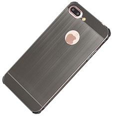 Coque Luxe Aluminum Metal Housse Etui M01 pour Apple iPhone 8 Plus Gris Fonce