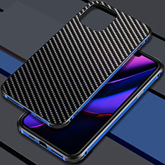 Coque Luxe Aluminum Metal Housse Etui M02 pour Apple iPhone 11 Pro Max Bleu