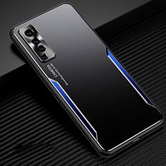 Coque Luxe Aluminum Metal Housse Etui M02 pour Vivo X50 5G Bleu et Noir