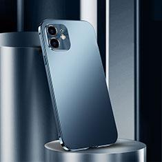 Coque Luxe Aluminum Metal Housse Etui N01 pour Apple iPhone 12 Bleu