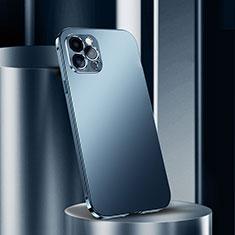 Coque Luxe Aluminum Metal Housse Etui N02 pour Apple iPhone 12 Pro Bleu