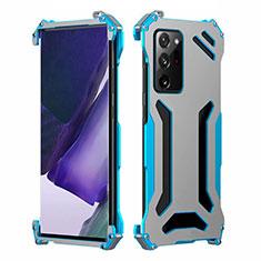 Coque Luxe Aluminum Metal Housse Etui N02 pour Samsung Galaxy Note 20 Ultra 5G Bleu Ciel