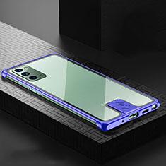 Coque Luxe Aluminum Metal Housse Etui N03 pour Samsung Galaxy Note 20 5G Bleu