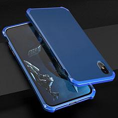 Coque Luxe Aluminum Metal Housse Etui pour Apple iPhone Xs Bleu